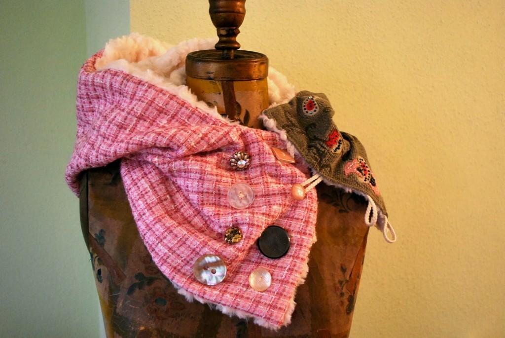 Florida Scarf Pink Plaid Hood